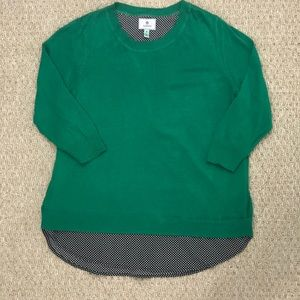Susina Green Sweater with shirt sewn under